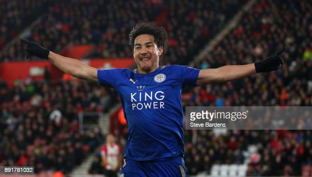 Shinji Okazaki of Leicester City celebrates after scoring his sides fourth goal during the Premier League match between Southampton and Leicester...