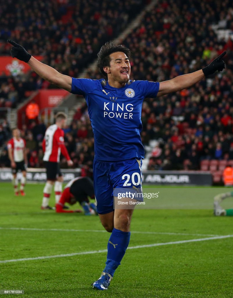 Shinji Okazaki of Leicester City celebrates after scoring his sides fourth goal during the Premier League match between Southampton and Leicester City at St Mary's Stadium on December 13, 2017 in Southampton, England.