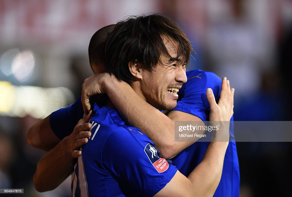 Shinji Okazaki of Leicester City celebrates after scoring his team's second goal during The Emirates FA Cup third round match between Tottenham Hotspur and Leicester City at White Hart Lane on January 10, 2016 in London, England.