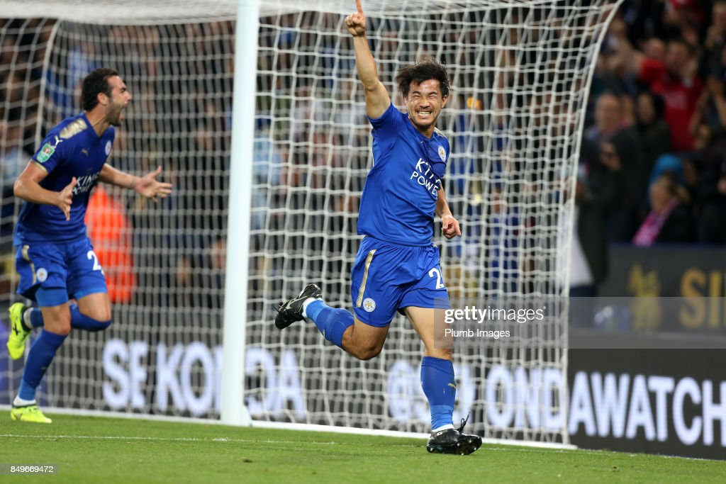 Shinji Okazaki of Leicester City celebrates after scoring to make it 1-0 during the Carabao Cup third round match between Leicester City and Liverpool at King Power Stadium on September 19 , 2017 in Leicester, United Kingdom.