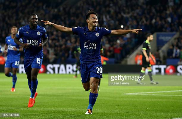 Shinji Okazaki of Leicester City celebrates scoring his and his sides second goal during the EFL Cup Third Round match between Leicester City and...