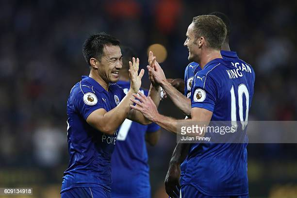 Shinji Okazaki of Leicester City celebrates scoring his and his sides second goal with team mates during the EFL Cup Third Round match between...