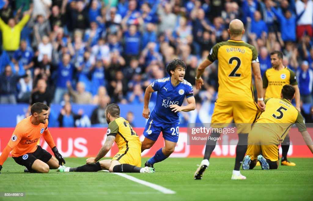 Shinji Okazaki of Leicester City celebrates scoring his sides first goal during the Premier League match between Leicester City and Brighton and Hove Albion at The King Power Stadium on August 19, 2017 in Leicester, England.