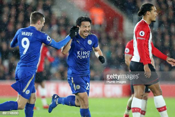 Shinji Okazaki of Leicester City celebrates with Jamie Vardy of Leicester City after scoring to make it 02 during the Premier League match between...