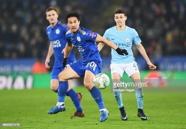 Shinji Okazaki of Leicester City controls the ball during the Carabao Cup QuarterFinal match between Leicester City and Manchester City at The King...