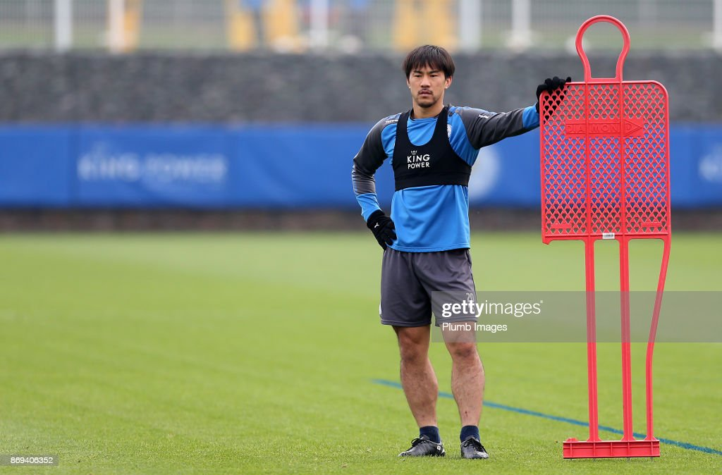 Shinji Okazaki of Leicester City during the Leicester City training session at Belvoir Drive Training Complex on November 02 , 2017 in Leicester, United Kingdom.