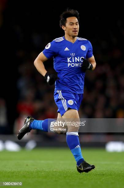 Shinji Okazaki of Leicester City during the Premier League match between Arsenal FC and Leicester City at Emirates Stadium on October 22 2018 in...