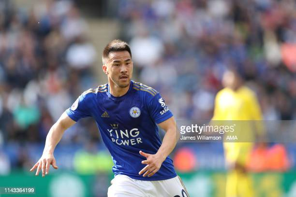 Shinji Okazaki of Leicester City during the Premier League match between Leicester City and Chelsea FC at The King Power Stadium on May 12 2019 in...