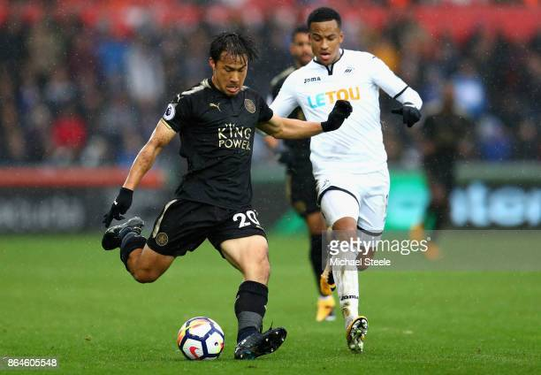 Shinji Okazaki of Leicester City during the Premier League match between Swansea City and Leicester City at Liberty Stadium on October 21 2017 in...