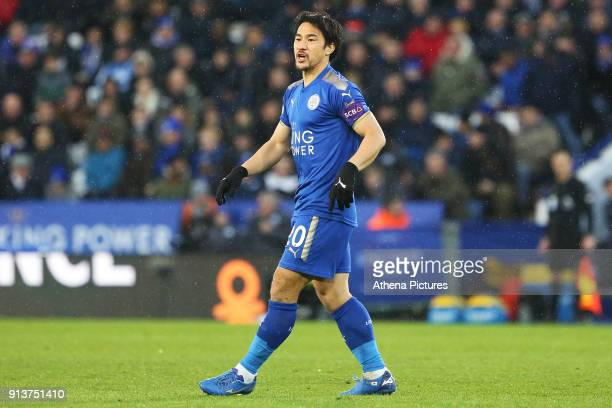 Shinji Okazaki of Leicester City during the Premier League match between Leicester City and Swansea City at the Liberty Stadium on February 3 2018 in...