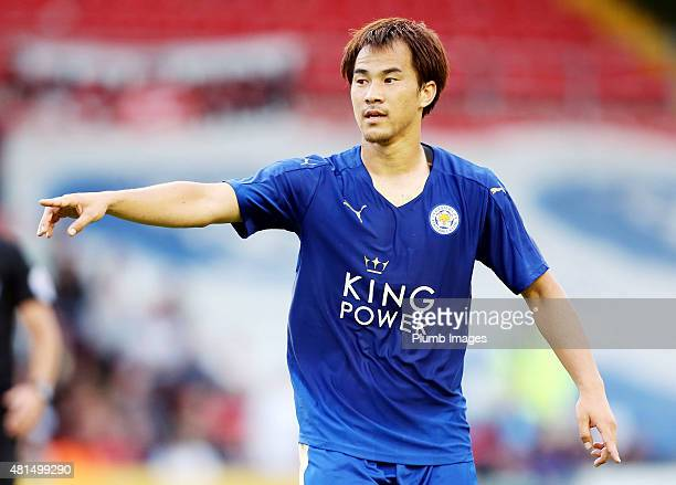 Shinji Okazaki of Leicester City during the preseason friendly between Lincoln City and Leicester City at Sincil Bank Stadium on July 21 2015 in...
