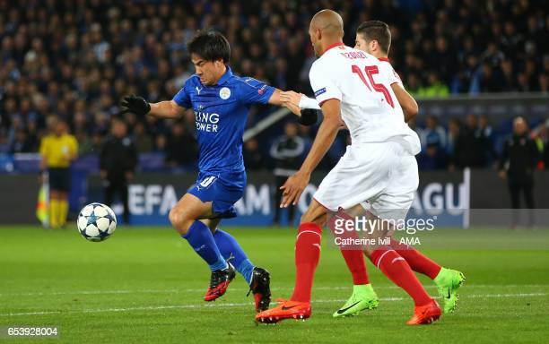Shinji Okazaki of Leicester City during the UEFA Champions League Round of 16 second leg match between Leicester City and Sevilla FC at The King...