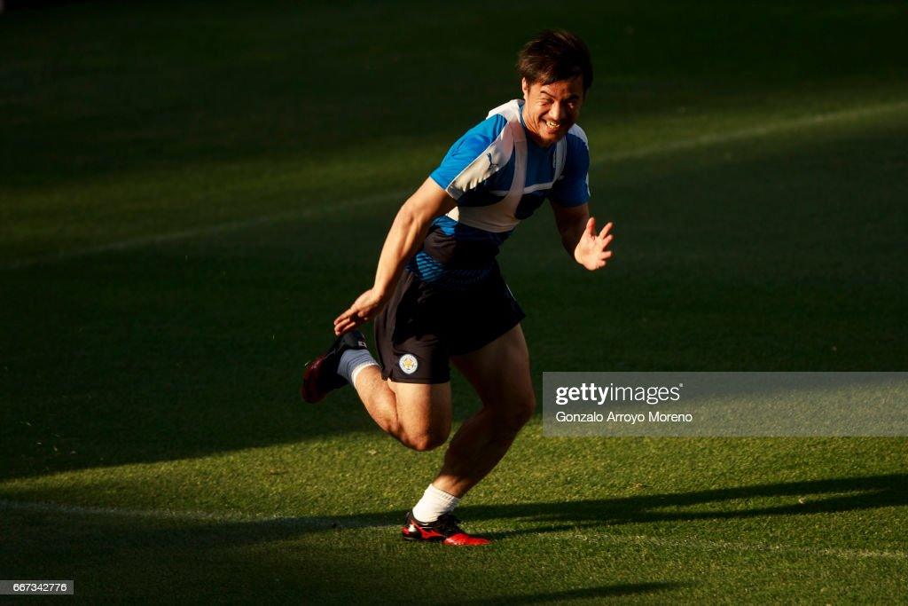Shinji Okazaki of Leicester City excersises during a training session ahead of the UEFA Champions League Quarter Final First leg match between Club Atletico de Madrid and Leicester City at Estadio Vicente Calderon on April 11, 2017 in Madrid, Spain.