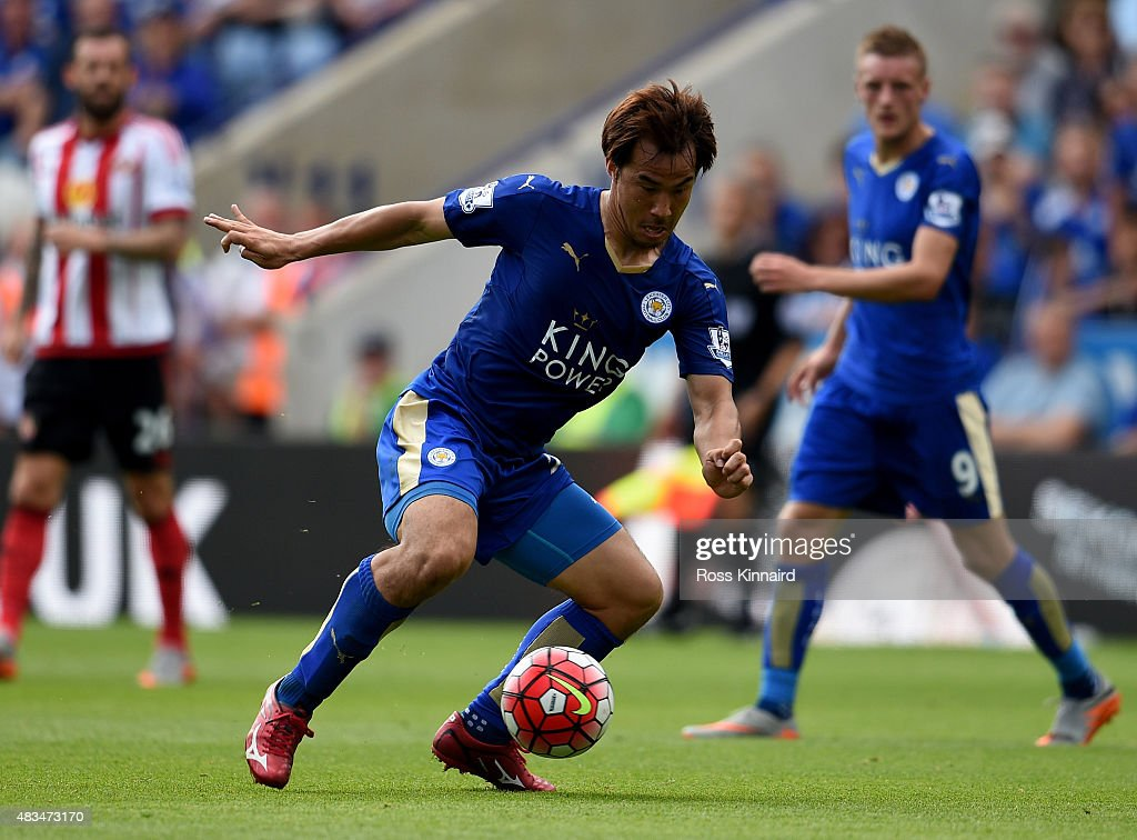Shinji Okazaki of Leicester City in action during the Barclays Premier League match between Leicester City and Sunderland at the King Power Stadium on August 8, 2015 in Leicester, England.