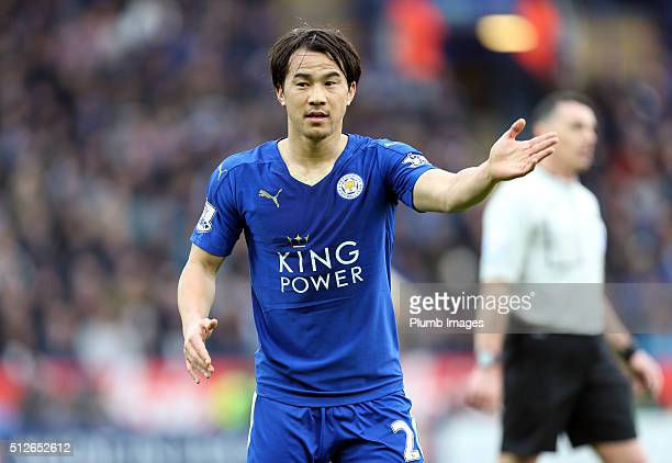 Shinji Okazaki of Leicester City in action during the Barclays Premier League match between Leicester City and Norwich City at the King Power Stadium...
