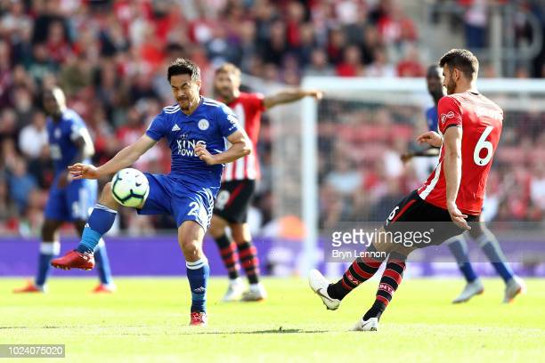 Shinji Okazaki of Leicester City in action during the Premier League match between Southampton FC and Leicester City at St Mary's Stadium on August...