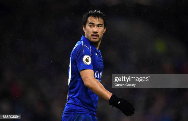 Shinji Okazaki of Leicester City in action during the Premier League match between Burnley and Leicester City at Turf Moor on January 31 2017 in...