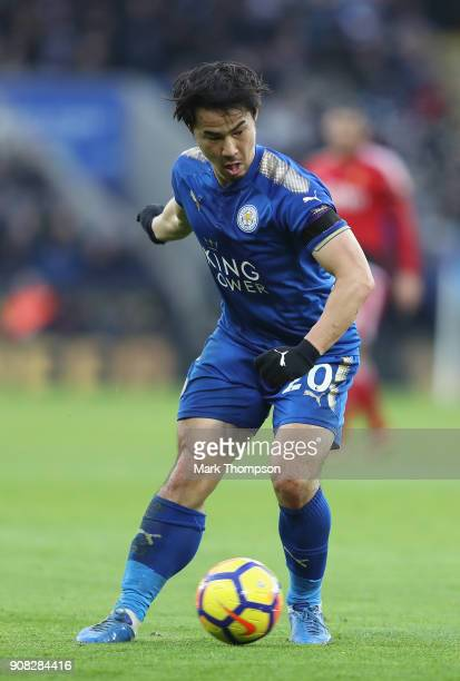Shinji Okazaki of Leicester City in action during the Premier League match between Leicester City and Watford at The King Power Stadium on January 20...