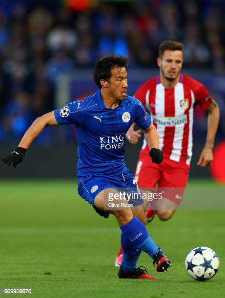 Shinji Okazaki of Leicester City in action during the UEFA Champions League Quarter Final second leg match between Leicester City and Club Atletico...