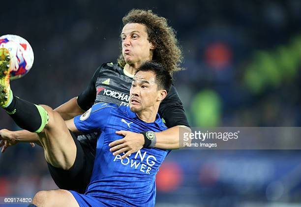 Shinji Okazaki of Leicester City in action with David Luiz of Chelsea during the EFL third round cup match between Leicester City and Chelsea at the...