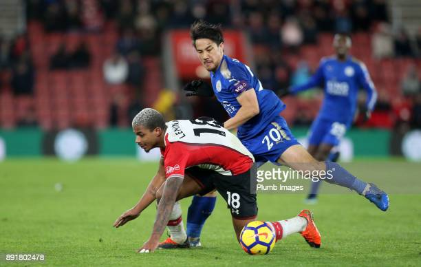 Shinji Okazaki of Leicester City in action with Mario Lemina of Southampton during the Premier League match between Southampton and Leicester City at...