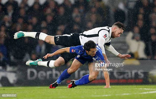 Shinji Okazaki of Leicester City in action with Richard Keogh of Derby County during the Emirates FA Cup Fourth Round tie between Derby County and...