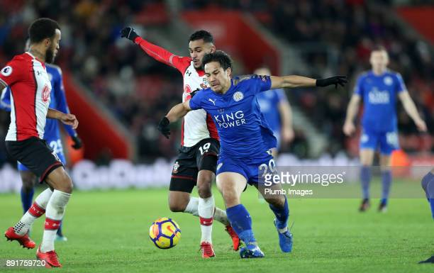 Shinji Okazaki of Leicester city in action with Sofiane Boufal of Southampton during the Premier League match between Southampton and Leicester City...