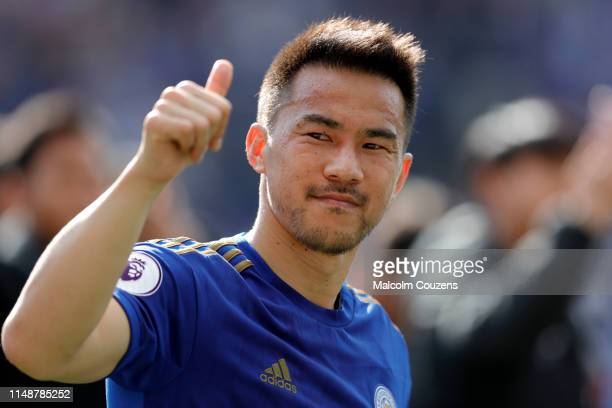 Shinji Okazaki of Leicester City reacts following the Premier League match between Leicester City and Chelsea FC at The King Power Stadium on May 12...
