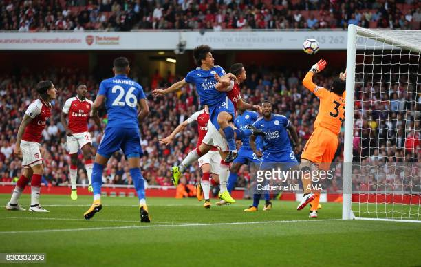 Shinji Okazaki of Leicester City scores a goal to make it 11 during the Premier League match between Arsenal and Leicester City at Emirates Stadium...