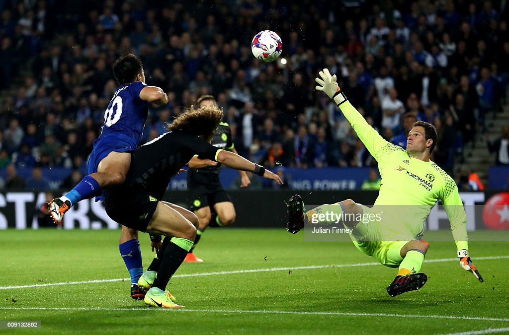 Shinji Okazaki of Leicester City scores his and his sides second goal past Asmir Begovic of Chelsea during the EFL Cup Third Round match between Leicester City and Chelsea at The King Power Stadium on September 20, 2016 in Leicester, England.