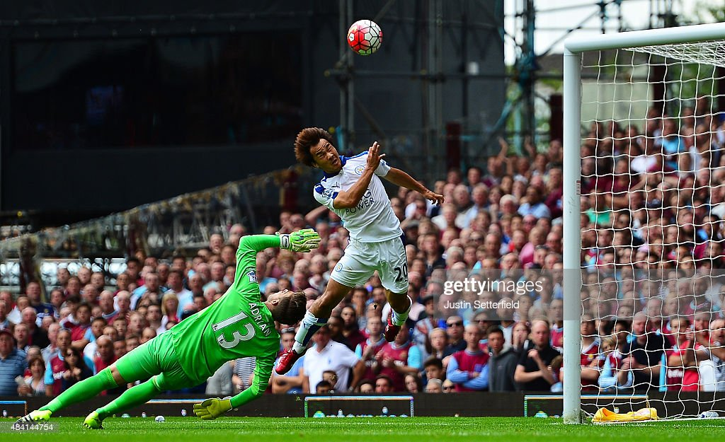Shinji Okazaki of Leicester City scores his team's first goal during the Barclays Premier League match between West Ham United and Leicester City at the Boleyn Ground on August 15, 2015 in London, United Kingdom.