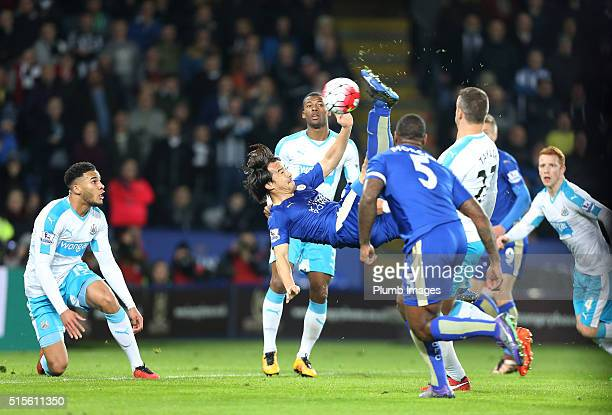 Shinji Okazaki of Leicester City scores with a bicycle kick to make it 10 during the Barclays Premier League match between Leicester City and...