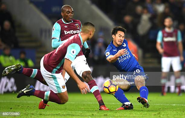 Shinji Okazaki of Leicester City shoots on goal during the Premier League match between Leicester City and West Ham United at The King Power Stadium...