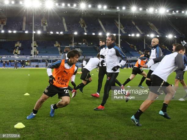 Shinji Okazaki of Leicester City warms at Goodison Park ahead of the Premier League match between Everton and Leicester City at Goodison Park on...