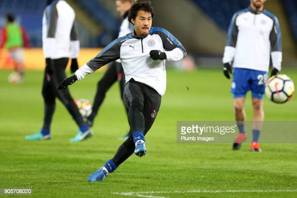 Shinji Okazaki of Leicester City warms up at King Power Stadium ahead of The Emirates FA Cup Third Round Replay between Leicester City and Fleetwood...