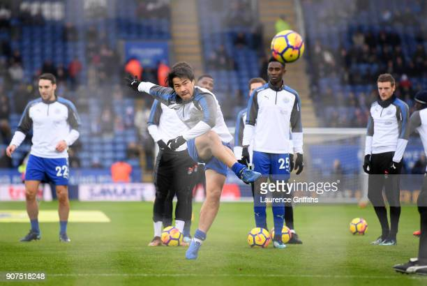 Shinji Okazaki of Leicester City warms up prior to the Premier League match between Leicester City and Watford at The King Power Stadium on January...