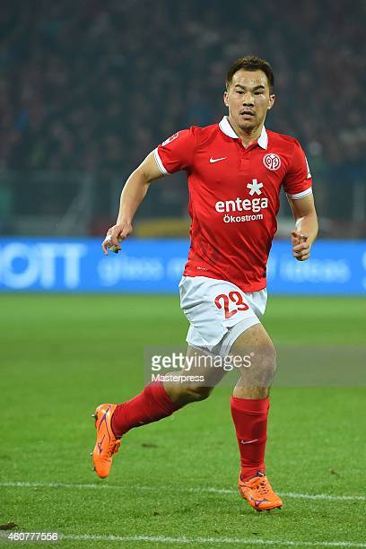 Shinji Okazaki of Mainz in action during the Bundesliga match between 1. FSV Mainz 05 and FC Bayern Muenchen at Coface Arena on December 19, 2014 in...