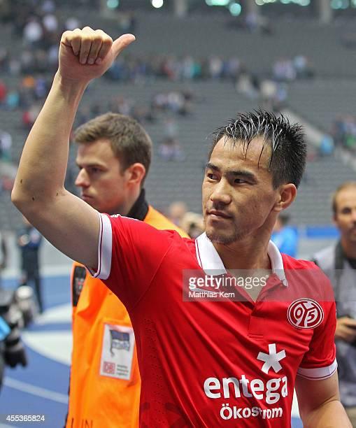 Shinji Okazaki of Mainz shows his delight after winning the Bundesliga match between Hertha BSC and 1FSV Mainz 05 at Olympiastadion on September 13...