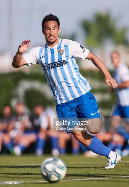 Shinji Okazaki of Malaga CF in action during a pre season friendly match at Marbella football center on August 01, 2019 in Marbella, Spain.