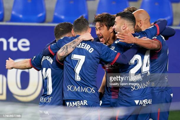 Shinji Okazaki of SD Huesca celebrates after scoring his team's first goal during the La Liga Santander match between SD Huesca and Deportivo Alavés...