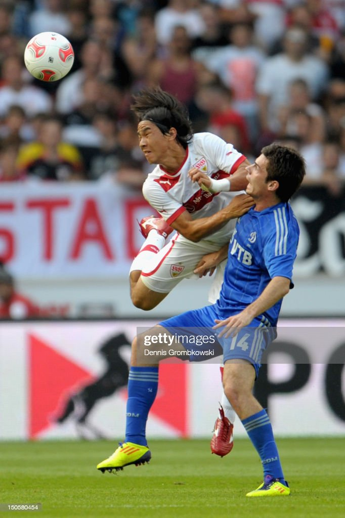 Shinji Okazaki of Stuttgart and Artur Yusupov of Moscow battle for the ball during the UEFA Europa League Qualifying Play-Off match between VfB Stuttgart and FC Dynamo Moscow at Mercedes-Benz Arena on August 22, 2012 in Stuttgart, Germany.