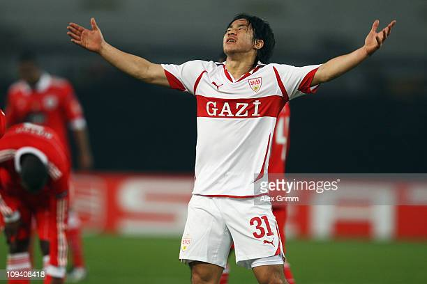 Shinji Okazaki of Stuttgart reacts during the UEFA Europa League match round of 32 second leg between VfB Stuttgart and Benfica at MercedesBenz Arena...