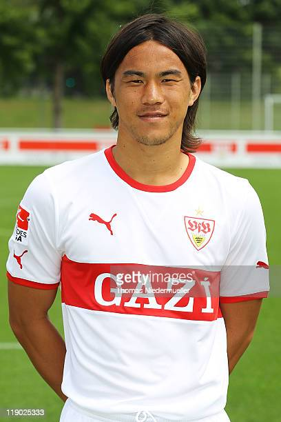 Shinji Okazaki poses during the VfB Stuttgart team presentation at Stuttgart's training ground on July 14 2011 in Stuttgart Germany