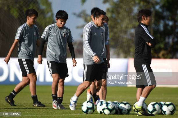 Shinji Okazaki Takefusa Kubo and Daiki Sugioka of Japan during the training session on June 22 2019 in Belo Horizonte Brazil