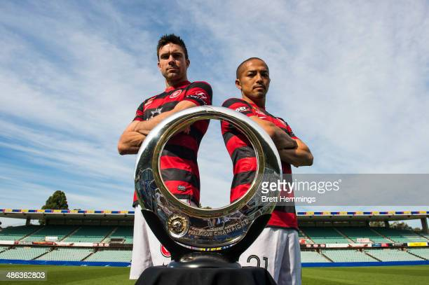 Shinji Ono and Michael Beauchamp of the Western Sydney Wanderers pose with the ALeague Championship Trophy at Pirtek Stadium on April 24 2014 in...