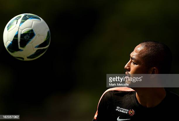 Shinji Ono controls the ball during a Western Sydney Wanderers ALeague training session at Blacktown International Sportspark on February 19 2013 in...