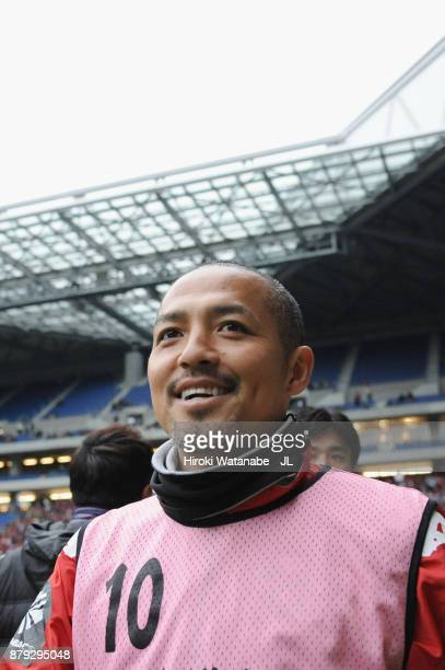 Shinji Ono of Consadole Sapporo celebrates his side's 10 victory in the JLeague J1 match between Gamba Osaka and Consadole Sapporo at Suita City...