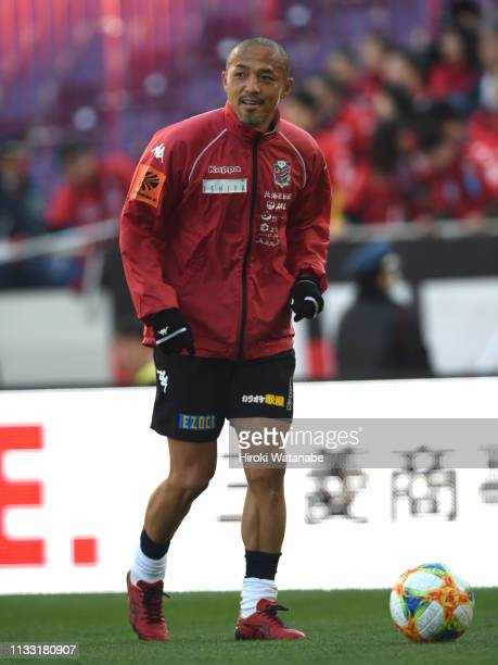 Shinji Ono of Consadole Sapporo in action prior to the JLeague J1 match between Urawa Red Diamonds and Consadole Sapporo at Saitama Stadium on March...