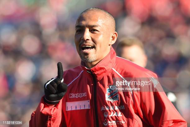 Shinji Ono of Consadole Sapporo looks on prior to the JLeague J1 match between Urawa Red Diamonds and Consadole Sapporo at Saitama Stadium on March...