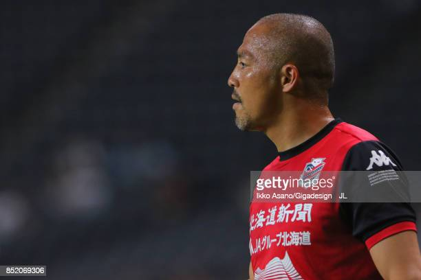 Shinji Ono of Consadole Sapporo warms up prior to the JLeague J1 match between Consadole Sapporo and Albirex Niigata at Sapporo Dome on September 23...